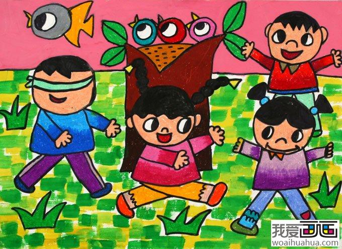 """学画画 儿童画教程 儿童水彩画 > 儿童画""""捉迷藏"""""""