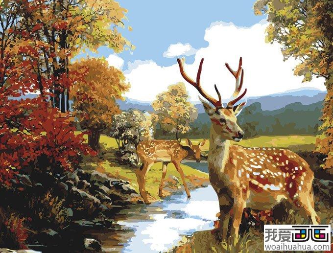 水粉画图片设计欣赏:梅花鹿_儿童画教程_学画画_我爱