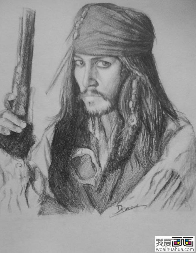 加勒比海盗-杰克船长素描画像