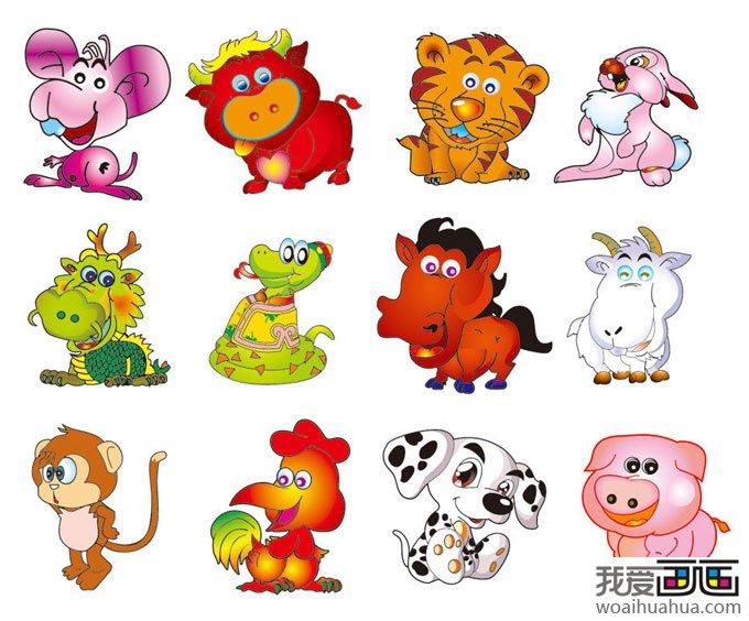 十二生肖动物矢量卡通画:老鼠