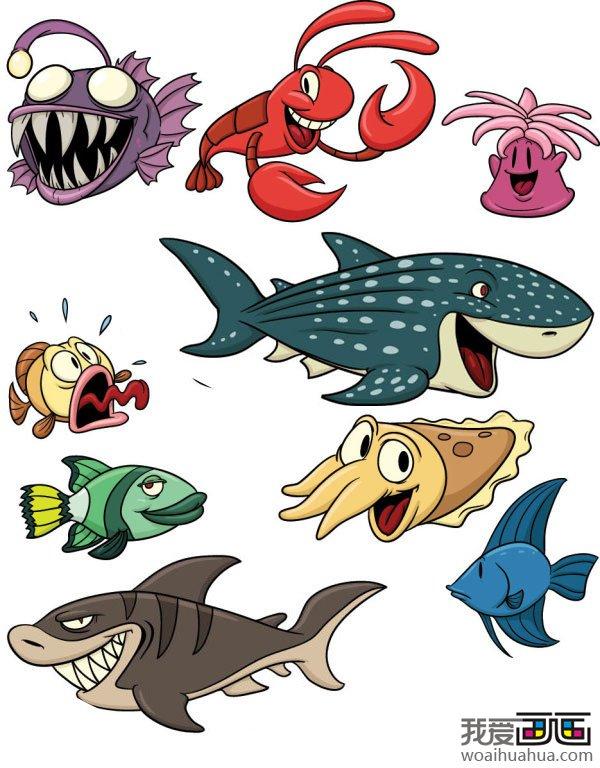 各种海底动物鱼类卡通画矢量图片