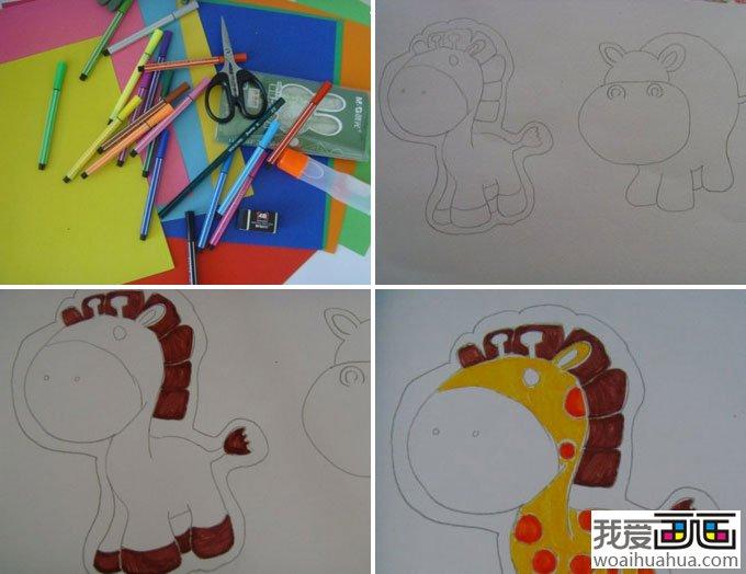 儿童画教程:手工制作动物diy儿童画(2)
