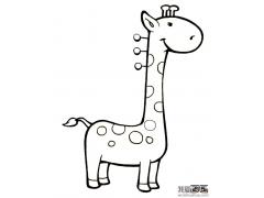 儿童动物简笔画:可爱的小长颈鹿简笔画