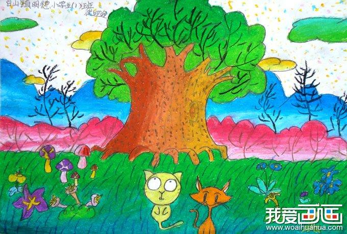 儿童画画作品:油画棒儿童画-春天