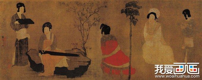 图中绘有桂花树和梧桐树,寓意秋日已至.