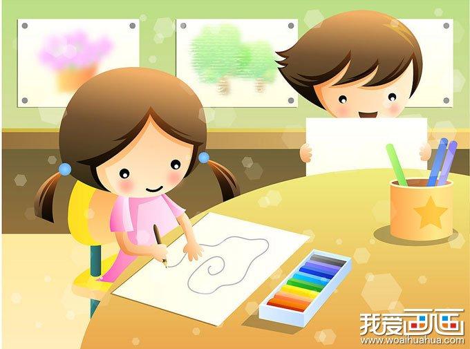 两幅卡通画儿童画画图片