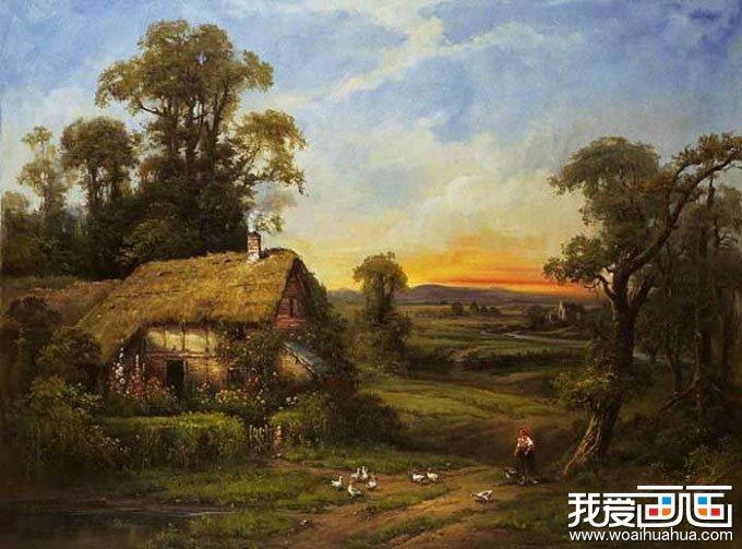 欧洲古典重彩风景油画图片 农妇喂鸡 绝美油画欣赏 高清图片