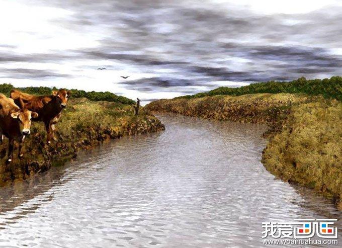 我爱画画  欧洲风景油画图片欣赏:河边的黄牛