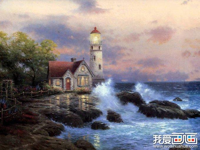 欧洲风景油画图片欣赏:海边的灯塔小屋_世界名画_百科
