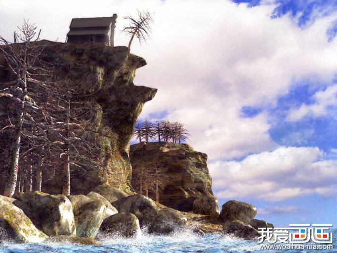 欧洲风景油画图片欣赏:海岸边巨石上的小屋