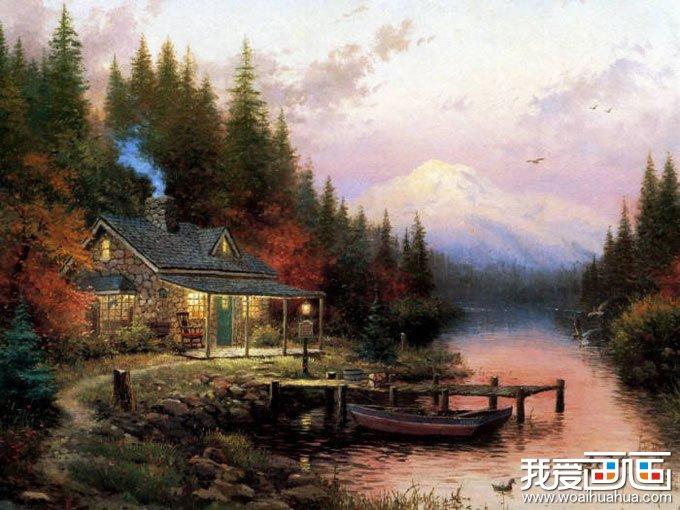 欧洲风景油画图片欣赏:炊烟_世界名画_百科_我爱画画网