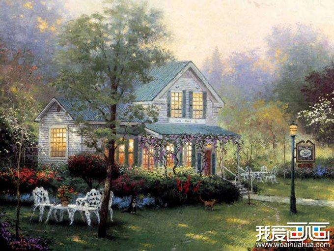 欧洲风情风景油画图片欣赏:林间的人家_世界名画_百科