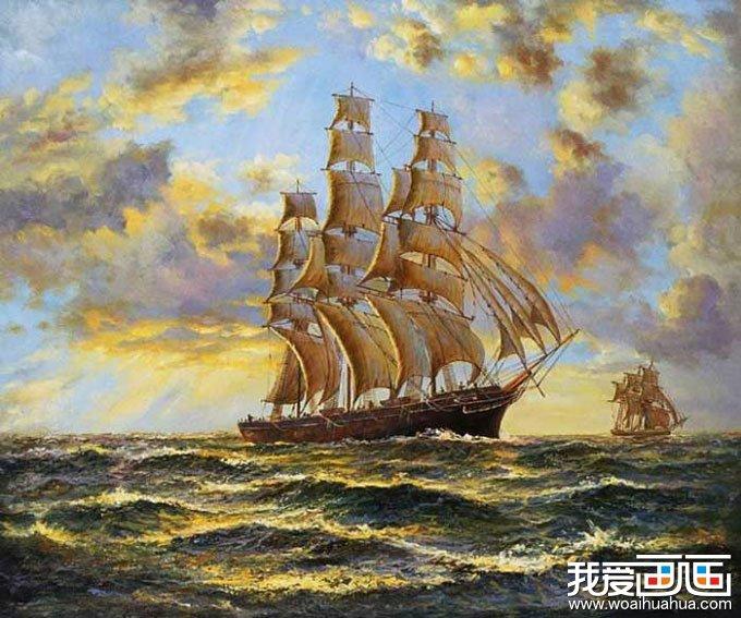 欧洲风情风景油画图片欣赏:大上海航行的帆船