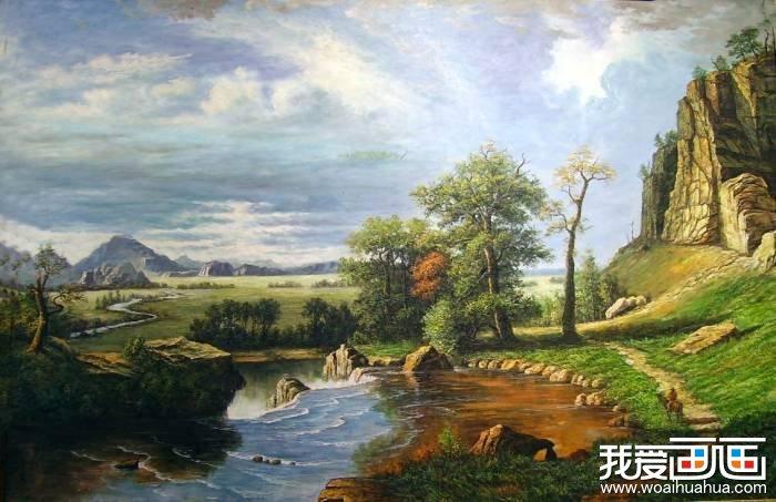 欧洲古典重彩风景油画图片:美丽的河流山川
