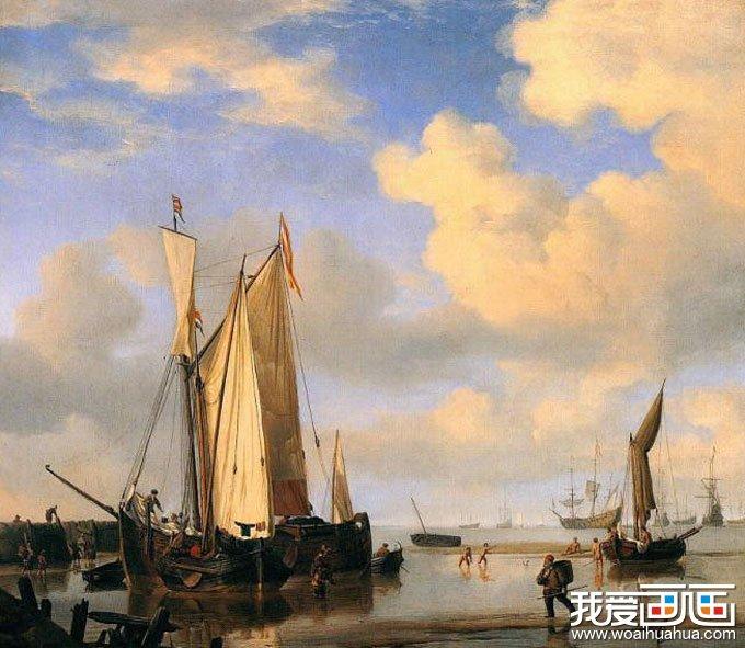 欧洲古典重彩风景油画图片 远航归来 高清图片