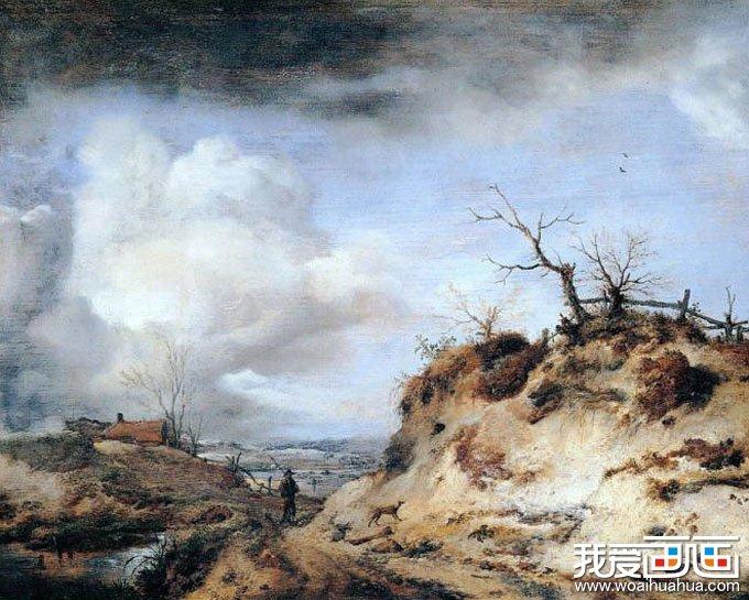欧洲古典重彩风景油画图片:贫瘠的生活呵土地