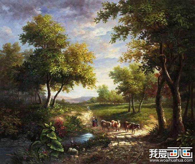 欧洲古典重彩风景油画图片:牧牛
