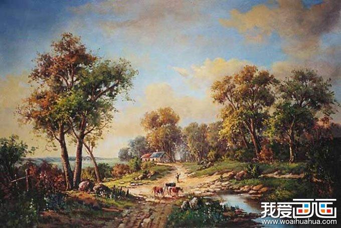 欧洲古典重彩风景油画图片 牧牛归来 高清图片