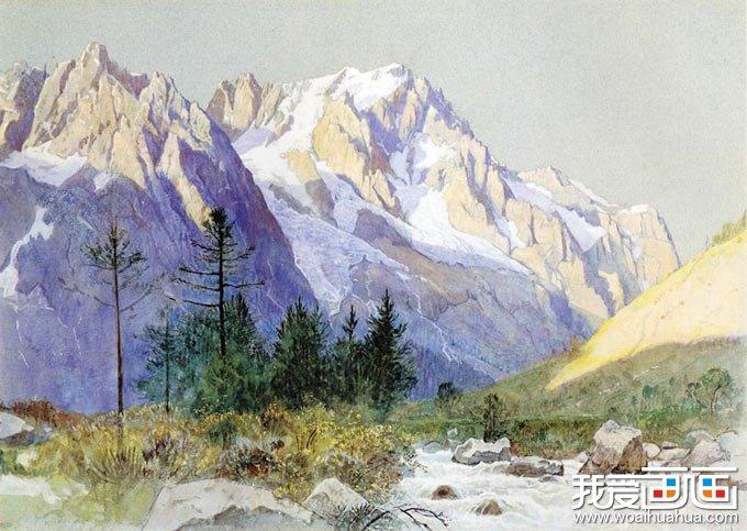 """《雪山美景》-哈斯提尼著名水彩画作品(1835-1900)(美国) 眼前这座雪山,感觉像含在嘴里的冰棍一样——凉凉的、甜甜的,画得真好!我们分析一下是什么原因。首先是两块颜色起作用——冷灰色的天空和蓝紫色的山的背影(注意:山的背影的这块蓝紫色是整幅画面的""""关键色""""。画家有意将这块颜色强调得更蓝一些、更纯一些),这两块颜色""""夹出了""""中间的山的亮部。而山的亮部正是画家在此画中真正精雕细刻的地方。请细看(尤其是左侧"""