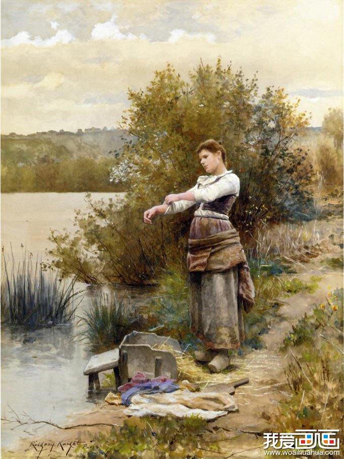 水彩画 洗衣妇人 美国画家可耐特水彩画图片 我爱画画 免
