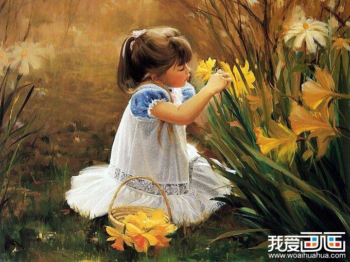 外国儿童题材的水彩画作品组图-灿烂的花季