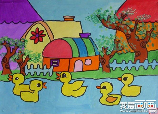 儿童水彩画:河中的5只小鸭子图片