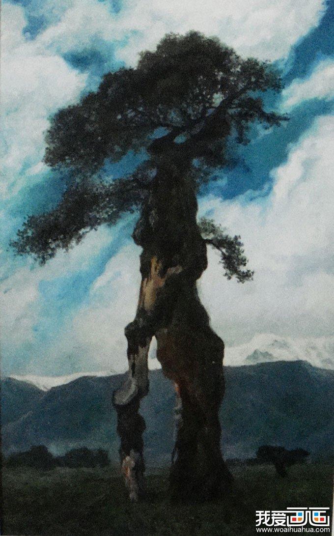 老树-风景油画图片作品