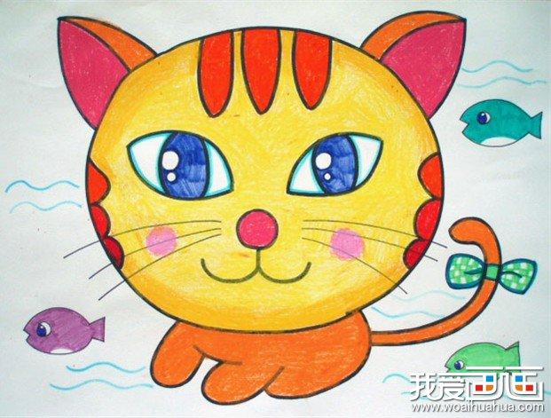儿童画作品欣赏-扎蝴蝶结的可爱的小花猫图片