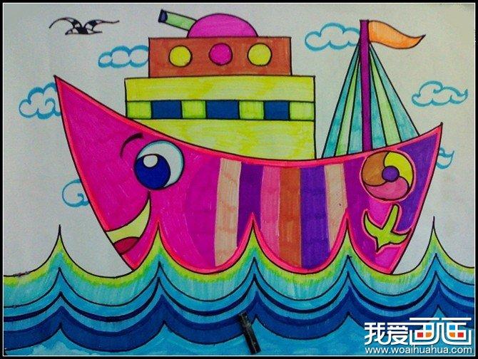 学画画 儿童画教程 儿童水彩画 > 月亮形状的轮船-水彩儿童画作品欣赏