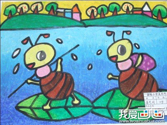 少年油画棒儿童画 蚂蚁搬家