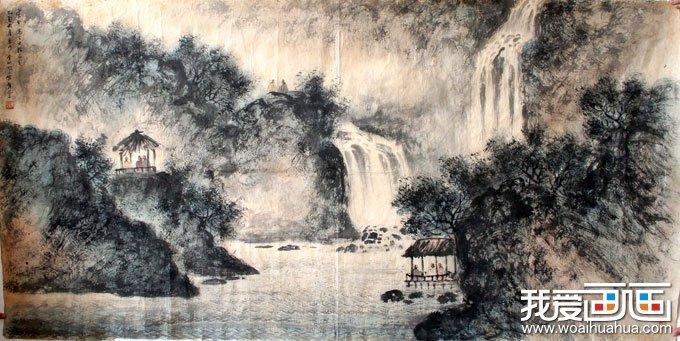渭城柳树水墨画