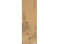 古代人物白描画《春意图》沈寿康 清