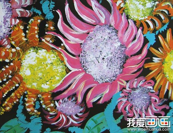 漂亮的向日葵水粉儿童画