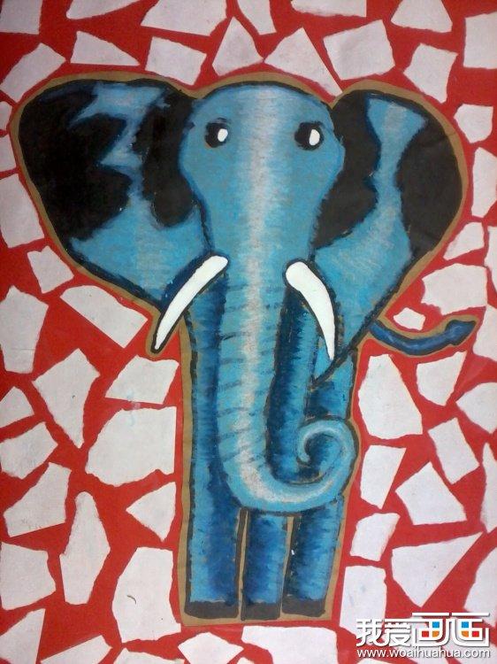 儿童画油画棒大象卡通作品欣赏(2)
