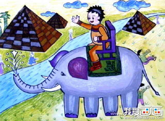 儿童画油画棒大象卡通作品欣赏(3)