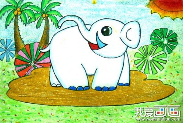 儿童画油画棒大象卡通作品欣赏(4)