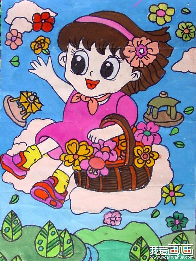 学画画 儿童画教程 儿童水彩画 > 坐着云彩散鲜花的小姑娘儿童水彩画