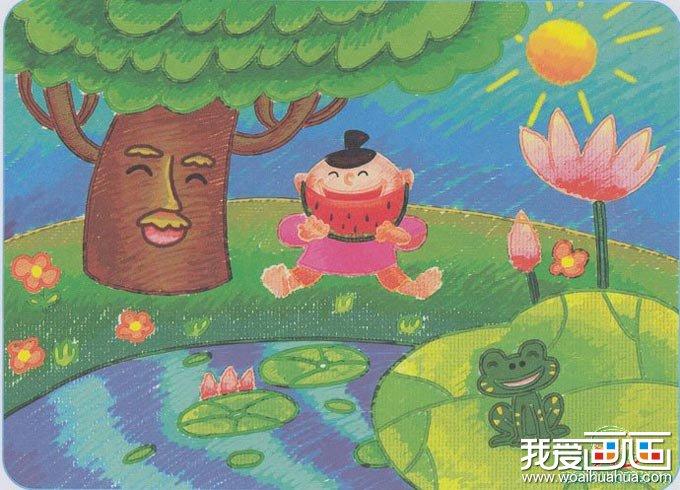 的快乐交响曲 儿童画青蛙大树荷花和吃西瓜的小男孩