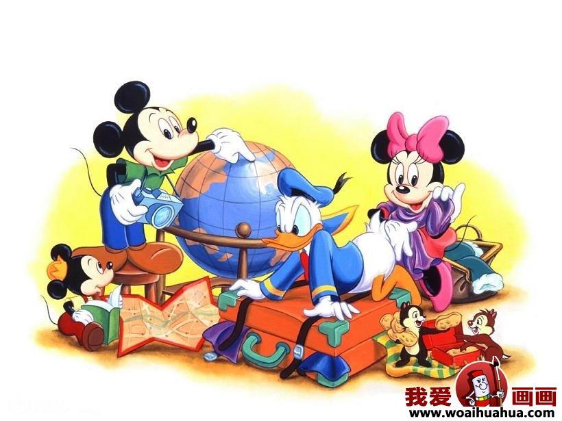 卡通画-快乐的米老鼠和唐老鸭_儿童画教程_学画画_我