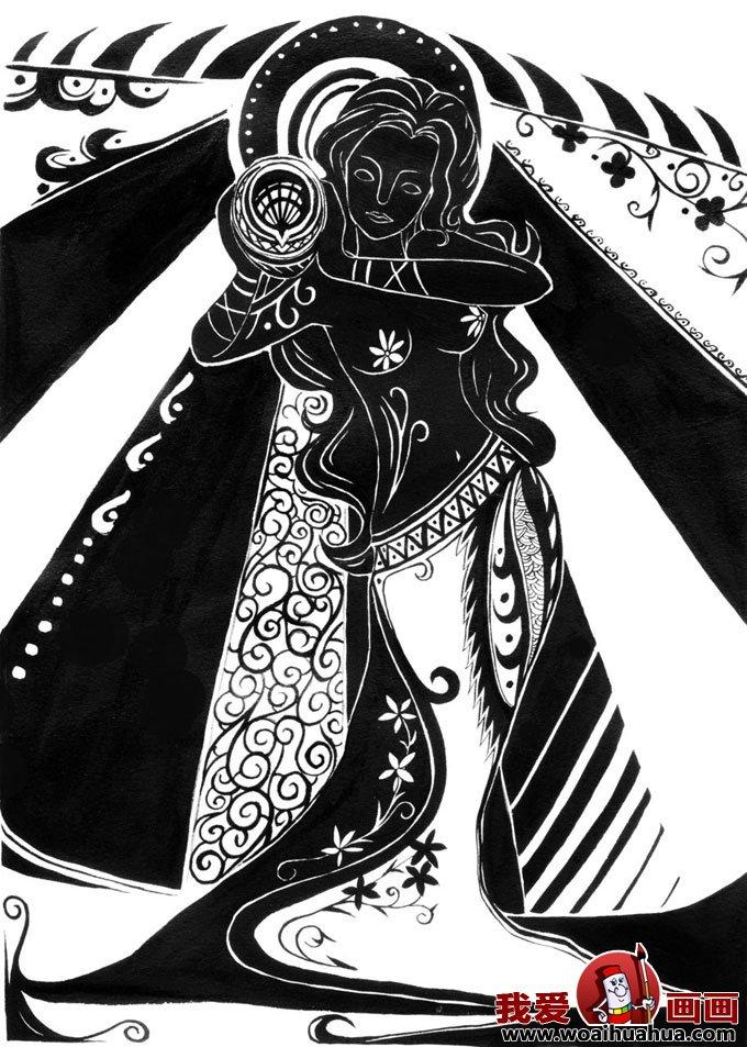 手绘人物黑白装饰画图片-曙光女神