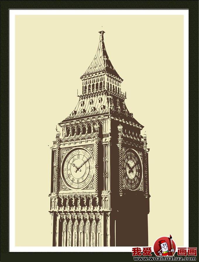 建筑黑白装饰画图片欣赏-钟楼顶部