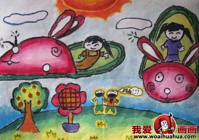 科学幻想画优秀绘画作品集锦:关于太空的儿童科幻画 小学生科幻画作品图片