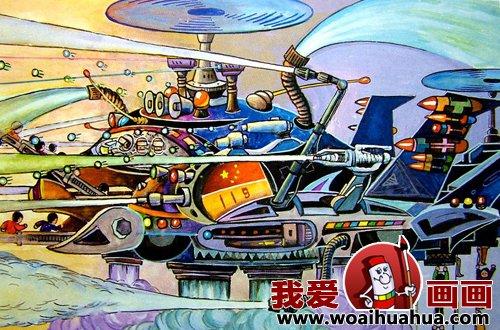 优秀中学生科幻画作品欣赏-少年儿童科幻画图片大全