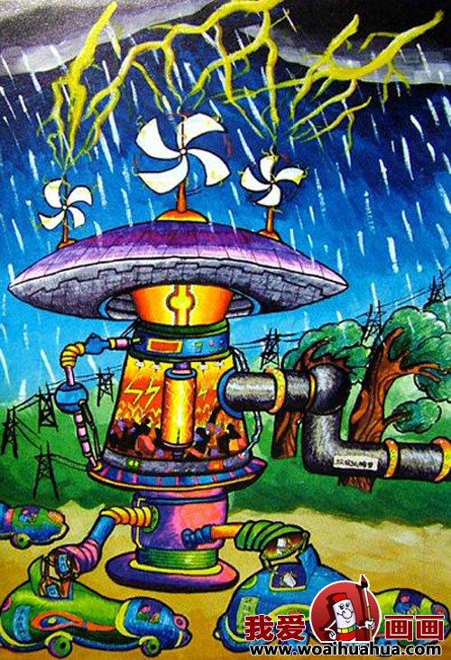 优秀中学生科幻画作品欣赏-少年儿童科幻画图片大全(10)图片