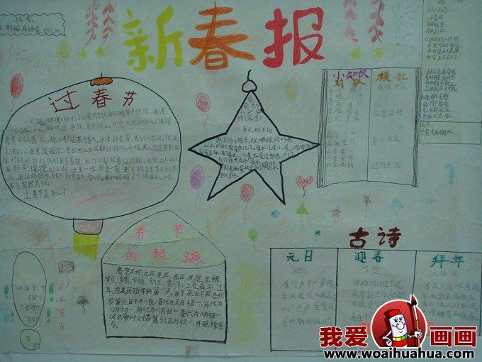 小学生a4手抄报版面设计图片组图:庆祝春节
