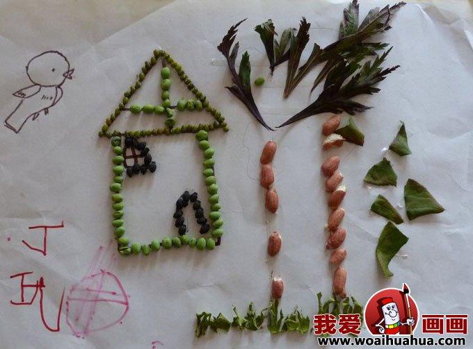 美术绘画爱好者学习和交流使用; 有趣的儿童树叶粘贴画作品图片欣赏(5