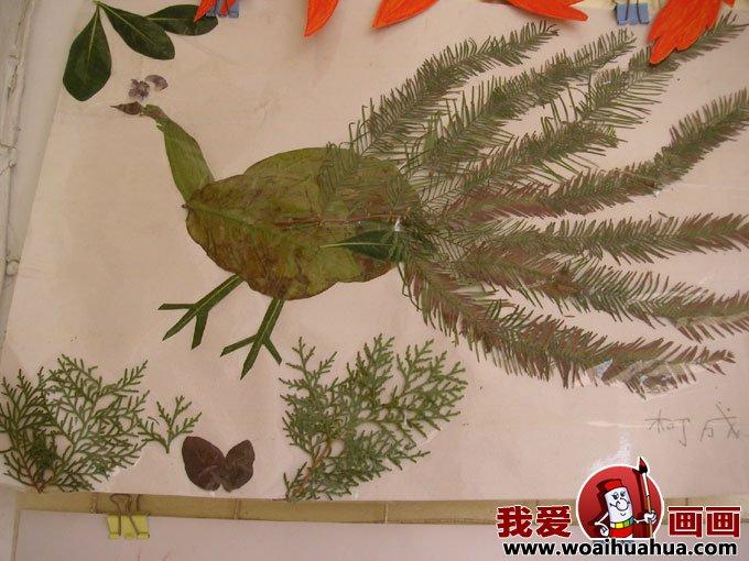 有趣的儿童树叶粘贴画作品图片欣赏(9)