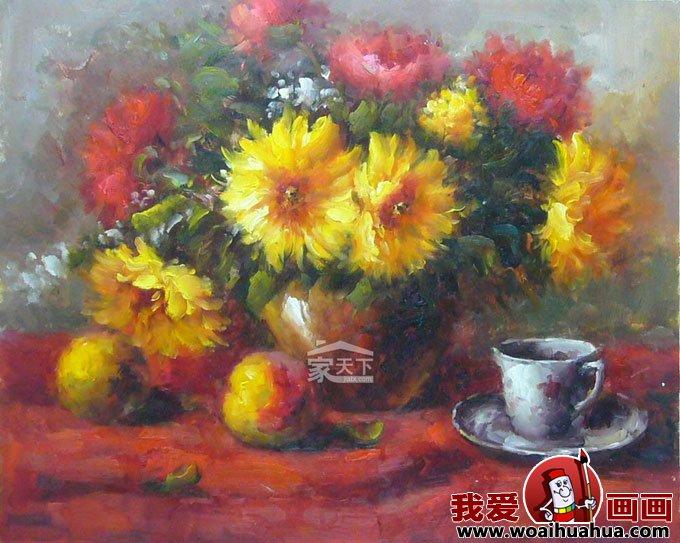 客厅装饰画-油画静物花卉无框客厅装饰画图片大全(2)
