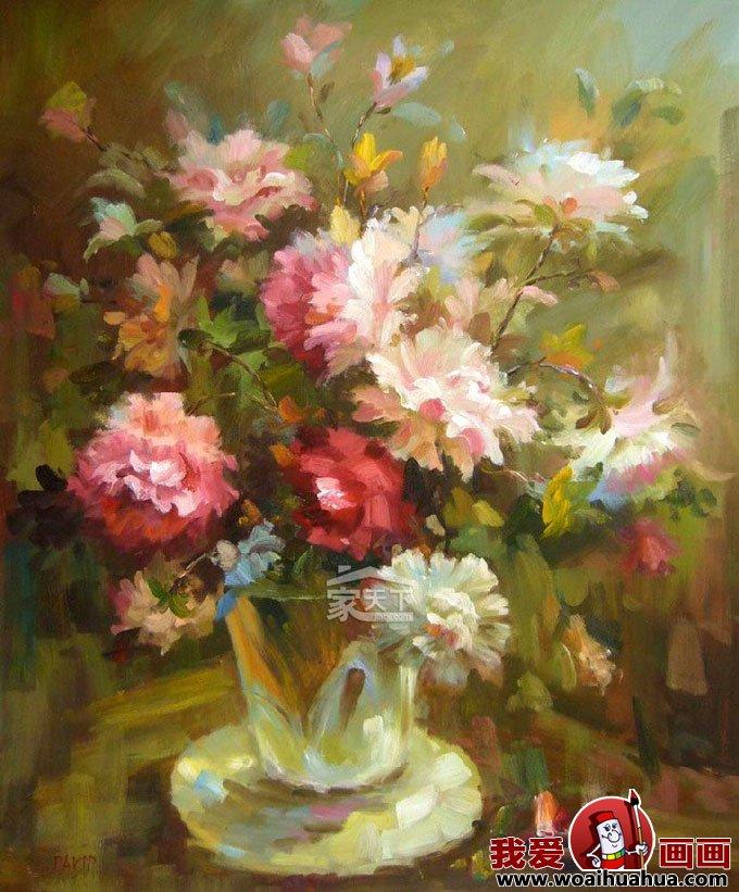 客廳裝飾畫-油畫靜物花卉無框客廳裝飾畫圖片大全(9)