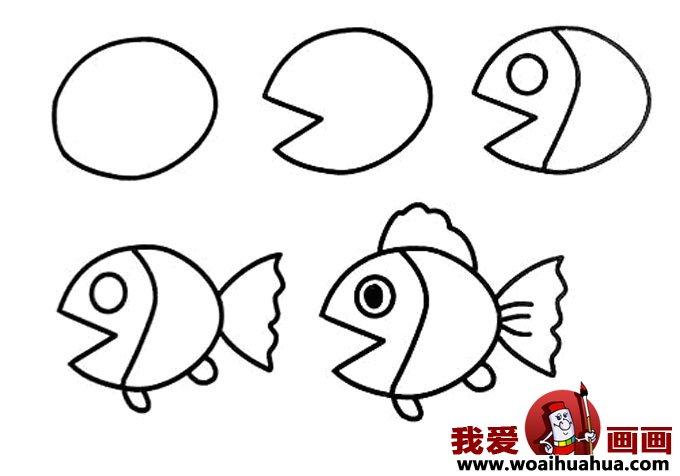 儿童简笔画教程大全 -小金鱼的画法图片